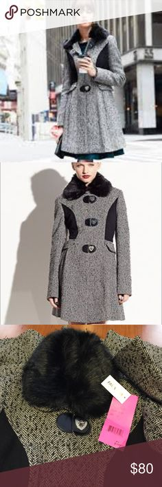 "Betsey Johnson Wool Coat New with tags! It is gorgeous, a must have, measurements: shoulder 15.5"", bust 19"", waist 17"" Betsey Johnson Jackets & Coats"