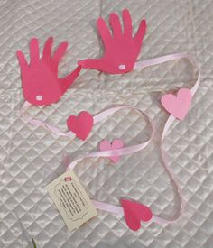 "Handprint long distance hug for Valentine's Day ...this might be the perfect thing to add into our letters for our ""special someones"" that we are mailing out!"