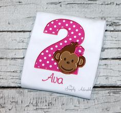 Girl's Monkey Birthday Shirt, Personalized Monkey Shirt, Jungle Birthday, Mod Monkey, Choose Shirt, Bodysuit, Romper, Bubble, or Dress by thesimplyadorable on Etsy