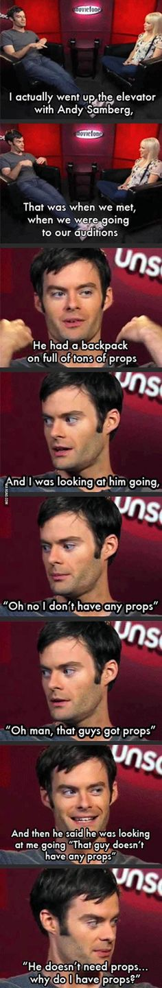 Bill Hader talks about when he went to audition for Saturday Night Live and met Andy Samberg
