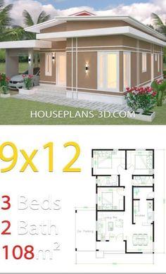 Guest House Plans, 3d House Plans, Simple House Plans, Beautiful House Plans, Model House Plan, House Layout Plans, Simple House Design, House Front Design, House Layouts