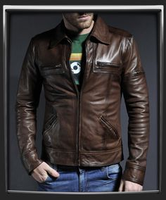 Unique chest zip pocket style. Fitted waist length leather jacket. 100% Italian nappa leather in Antique Brown. Luxury brown lining. Unique chest pocket and shoulder stitching details. Also available in Black. Model has 40 inch chest, wearing size Medium for a vintage slim fit. £335.00