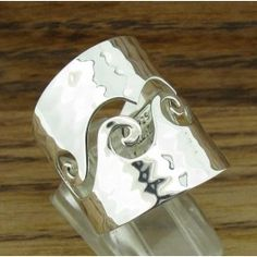 Spiral Hammered Wave Silver Ring | Handmade Mexican jewellery from Silver Bubble: http://silverbubble.co.uk/silver-ring-2528