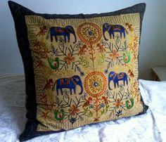 Large Indian Floor Cushion in Dark Khaki | eBay