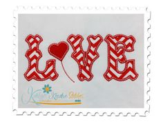 Free Embroidery Design: Love Applique Text with Heart - I Sew Free