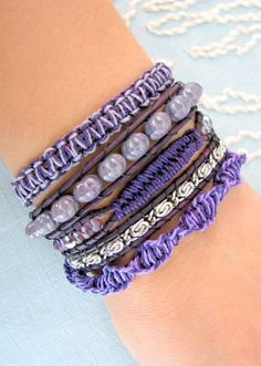 Beaded Wrap Bracelet with Silver Chain