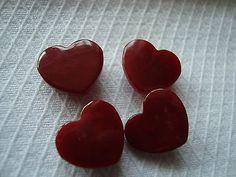4-Dark-Red-Heart-1940s-Plastic-Casein-Buttons