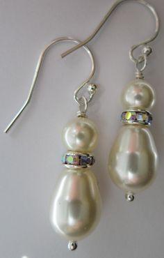 Cream Swarovski Pearl and Rhinestone Dangle Earrings - Bride, Bridal, Wedding, Mother of the Bride, Bridesmaid. $24.00, via Etsy.