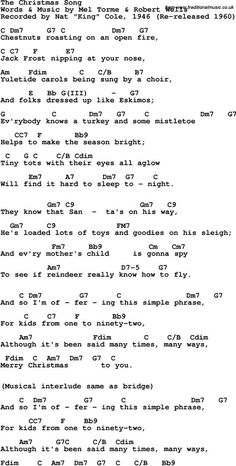 Song Lyrics & Guitar Chords for Christmas Song, The - Nat King Cole, 1946 - List Halloween Gospel Song Lyrics, Song Lyrics And Chords, Great Song Lyrics, Guitar Chords For Songs, Music Chords, Ukulele Tabs, Guitar Lessons, Christmas Ukulele Songs, Guitars