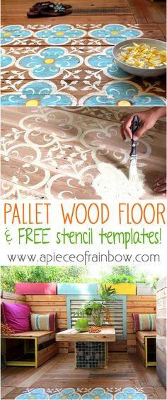 How to make your own stencils and create beautiful stenciled pallet wood floor or wood door mat in this detailed tutorial!  Free template download included - A Piece Of Rainbow
