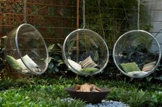 Bubble chair landscape contemporary home renovations with outdoor seating outdoor entertaining Modern Landscape Design, Modern Landscaping, Contemporary Landscape, Contemporary Gardens, Modern Backyard, Contemporary Furniture, Contemporary Design, Outdoor Fire, Outdoor Seating
