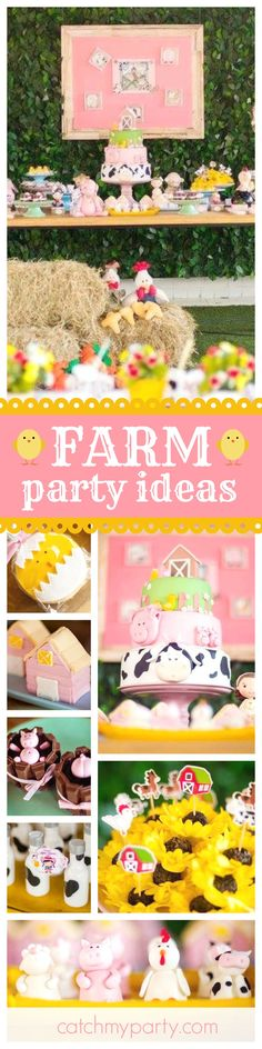 Be sure to visit this pretty Farm themed birthday party. The little chick and pig treats are so much fun!! See more party ideas and share yours at CatchMyParty.com