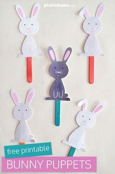Free printable bunny puppets and song page! #easter  #freeprintables  ##preschool