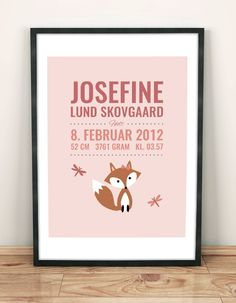 Birth poster with a cute fox | Fødselstavle med ræv