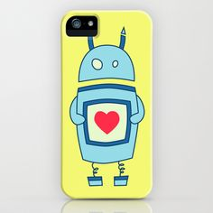 Cute Clumsy Robot With Heart iPhone & iPod Case $35.00 #iphone #iphonecases #robot