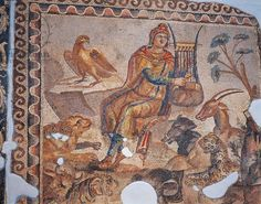 Mosaic depicting Orpheus charming wild beasts playing lyre, from Tarsus, Turkey