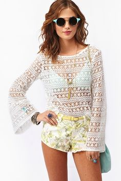 Louisa lacy crochet sweater with trumpet sleeves