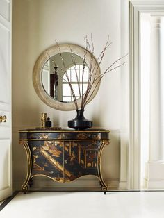 Stunning chinoiserie cabinet perfectly paired with a contemporary round marble framed mirror and onyx vase with pussywillows for height, well done. Top Furniture Stores, Cheap Furniture Online, Decor, Furniture, Stately Home, Living Room Sets Furniture, Discount Furniture, Baker Furniture, Furniture Stores Nyc