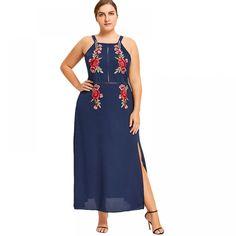 Plus Size Floral Embroidered Boho Beach Tank Dress Women Embroidery Sleeveless Chiffon Long Maxi Dress Plus Size Maxi Dresses, Trendy Dresses, Dresses For Work, Summer Dresses, Ivory Dresses, Beach Tanks, Tank Dress, Plus Size Women, Fit And Flare