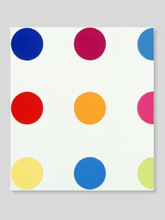 """Damien Hirst - Biphenol, 1995. """"To create that structure, to do those colours, and do nothing. I suddenly got what I wanted. It was just a way of pinning down the joy of colour."""" The spot paintings are amongst Hirst's most widely recognised works. Of the thirteen sub-series within the spots category, the 'Pharmaceutical' paintings are the first and most prolific. There are over 1000 in existence, dating from 1986 to 2011"""