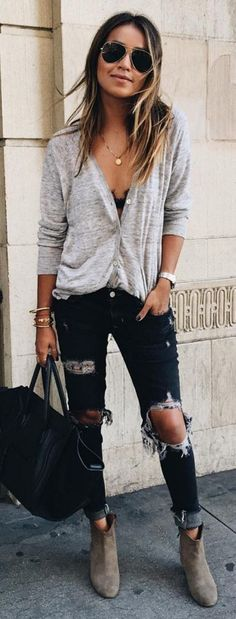 #sincerelyjules #spring #summer #besties | Grey Top + Ripped Denim Source
