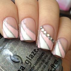 wedding nail art | this is a modified french tip design using sinful shine wisp the ...
