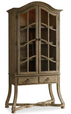 """Corsica Display Cabinet with Touch Lighting by Hooker Furniture 5280-75118 - Display Cabinet Base - 48"""" x 22"""" x 30"""" 5280-75119 - Display Cabinet Hutch - 44.5"""" x 22"""" x 60"""""""
