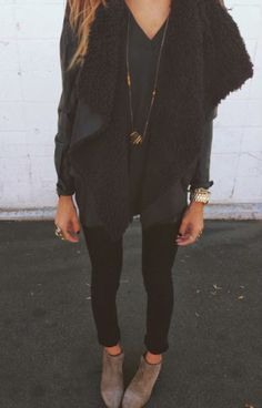 shearling vest. all black