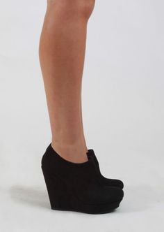 Suede Bootie With Wedge #black #suede #booties #shoes #kieus