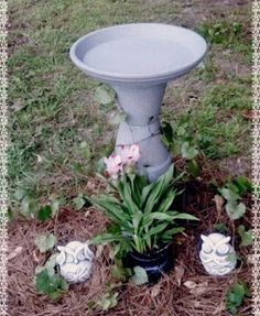 Clay Pot Bird bath with Stone spray paint by Wynne Huddleston : ) I saw this design on Pinterest and made my own version! Please be sure to use outdoor paint!
