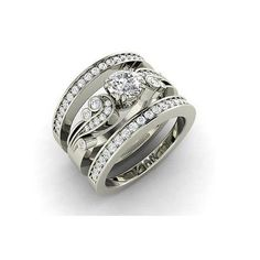 925-Sterling-Silver-1-32Ct-Round-CZ-Antique-With-2-Band-Wedding-Ring-Size-4-14