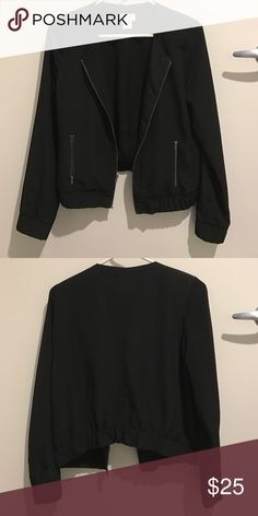 Dressy bomber blazer A lined 100% polyester dressy bomber blazer. It has reinforced shoulders for some extra shape in the shoulder area. Looks great over dresses with an edgy boot! The zipper details or brushed gold. love..ady Jackets & Coats Blazers