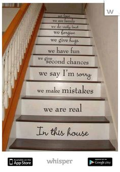 A really cute idea. U could even personalize it to say things...if I ever have a house with stairs.