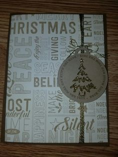 Simple and easy Christmas card with merry medley background stamp from stampin up