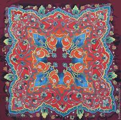 Купить Шелковый платок Батик Восток - бордовый, переплетение, восток, восточный, узор, орнамент, платок