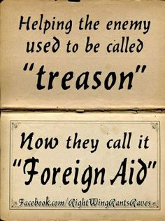 about the government :helping the enemy and terrorists used to be called 'treason' now it's called 'foreign aid'
