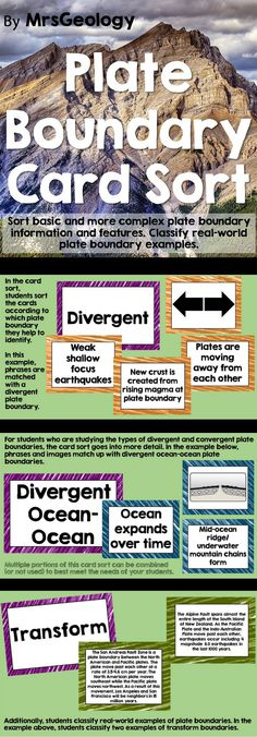 Plate Boundary Card Sort: 52 cards to engage students in beginner, intermediate, and advanced levels of card sort. Students will practice classifying plate boundary terms, descriptions, and diagrams as well as and apply their understanding of plate boundaries to identifying examples like the Himalayan Mountains and the Marianas Trench.
