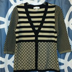 Super Cute Tan & Black Cardigan Worn once. Nice quality cardigan with multiple designs. Purchased on PM but ended up being a little too big for me. Size medium. Great for the Fall/Winter! Christopher & Banks Sweaters Cardigans