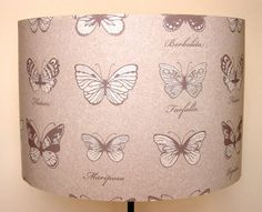 Handmade Lampshades in Butterfly 'Mariposa' Design Neutral Wallpaper