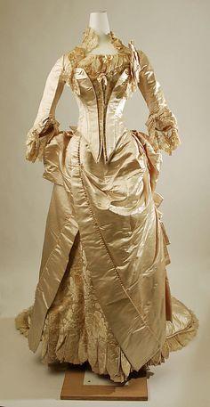 Wedding ensemble  Date: ca. 1885 Culture: American Medium: silk, glass, leather  Metropolitan Museum of Art   Accession Number: 1978.477.62a, b