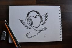 Heart with headphones and wings