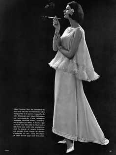 Christian Dior 1960 Pottier Evening Gown Cigarette Holder Fashion Photography photography by Philippe Pottier — original fashion print Christian Dior Vintage, Vintage Dior, Vintage Couture, Mode Vintage, Vintage Glamour, Vintage Ladies, Vintage Woman, Vintage Style, 60s And 70s Fashion