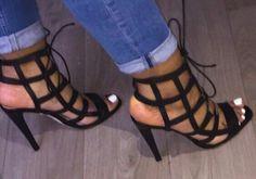 Shoespie Black Cage Cutout Lace Up Sandals Hot Shoes, Crazy Shoes, Me Too Shoes, Shoes Heels, Stiletto Shoes, Zara Heels, Sandal Heels, Strappy Heels, Lace Up Sandals