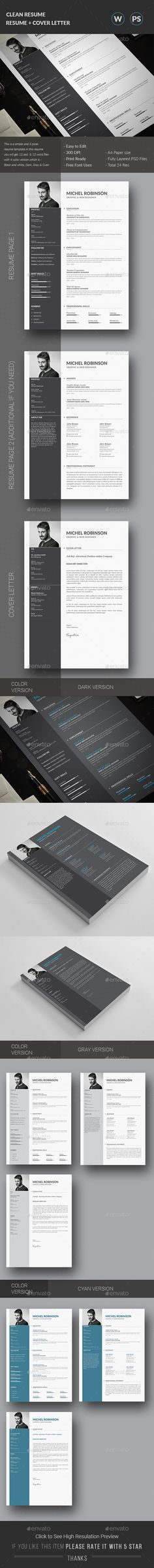 Resume — Photoshop PSD #indesign #doc • Available here → https://graphicriver.net/item/resume/15607938?ref=pxcr
