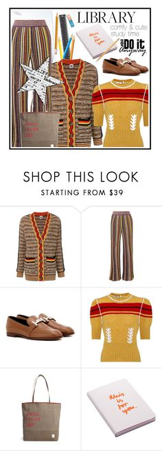 """""""Let's go to the library"""" by noconfessions ❤ liked on Polyvore featuring M Missoni, Missoni, Tod's, Miu Miu, ED Ellen DeGeneres, Nuuna and Paper Mate"""