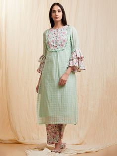 Mint Green Pink Checkered Cotton Kurta with Slip and Printed Pants - Set of 3