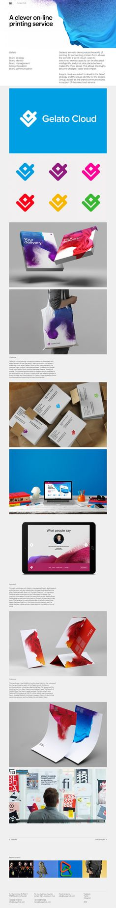 """Gelato's aim is to democratize the world of printing. By connecting printers from all over the world to a """"print cloud"""", excess capacity can be allocated intelligently, and print jobs placed where it makes the most sense. This allows printing to become cheaper, faster and simpler. Kurppa Hosk was asked to develop the brand strategy and the visual identity for the Gelato Group, as well as the brand communications. #Brandstrategy #Brandidentity #Brandmanagement #Contentcreation…"""