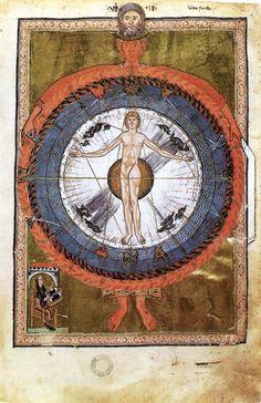 MINIATURIST, German The Book of Divine Works by Hildegard of Bingen c. 1230 Manuscript (Ms. 1942), 360 x 260 mm (folio size) Biblioteca Statale, Lucca