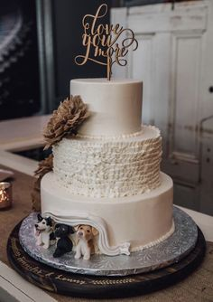 Such a cute idea. Customize your wedding cake with your dogs peeking out at the bottom Best Picture For sotho traditional wedding cakes For Your Taste You are looking for something, and it is going to Autumn Wedding, Rustic Wedding, Lemon And Coconut Cake, Dream Wedding, Wedding Day, Wedding Photos, Puppy Cake, Savoury Cake, Simple Weddings