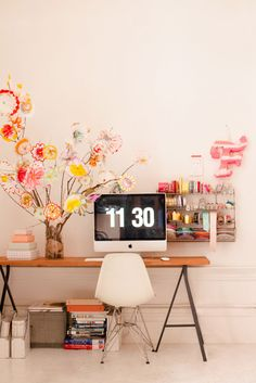 Hand Painted Flower Tree / decoration / home office Mesa Home Office, Home Office Decor, Home Decor, Office Ideas, Workspace Inspiration, Interior Inspiration, Decoration Entree, Ideas Para Organizar, Cool Diy Projects